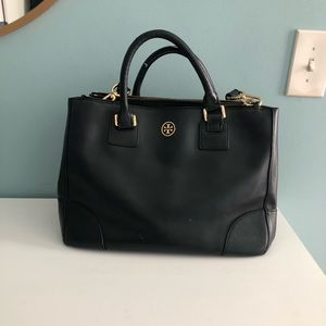 TIMELESS TORY BURCH BLACK TOTE / SATCHEL